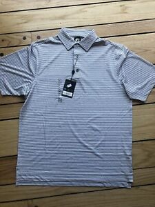 Footjoy Golf Polo Shirt Men's Sz Medium White W/Heather Grey stripes NWT