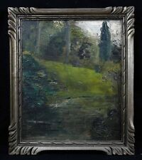 Landscape Postimpressionniste Antique Oil On Cardboard Fortified