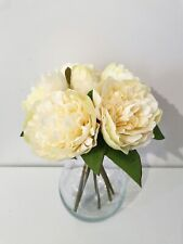 PEONY CREAM ARTIFICIAL FLOWERS IN GLASS VASE , ELEGANT CLASSIC HOME CENTERPIECE