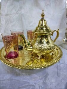 Moroccan Tea Serving TrayGolden Tea Set 1 Teapot 1 Tray *NEW*