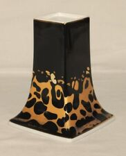 Goebel Porzellan Leopard Kerzenständer 16cm - Design Claudia Schwarz - vergoldet