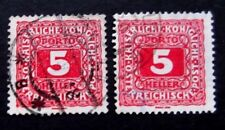 Austria-1916-Two 5H Postage Dues-Used