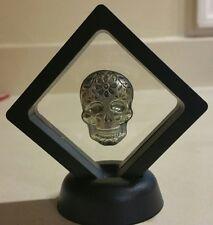 Framed 2 oz .999 Silver hand poured Skull art bar memento mori day of the dead