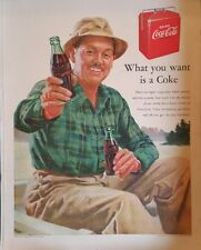 1950 Coca-Cola soda glass bottles  picnic coke cooler bottle opener  ad