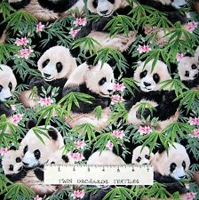 Pandamania Fabric - Panda Bear & Bamboo Packed Black - Elizabeth's Studio 1.61Yd