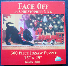 jigsaw puzzle 500 pc Face Off lab puppy toy Christmas train Christopher Nick
