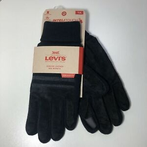 Sz Large LEVIS Genuine Leather Heritage Fit Inteli-touch Gloves Suede/Knit Black