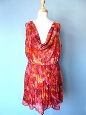 Snap Anthropologie Orange Print Sheer See-Thru Cowl Neck Summer Top Dress L