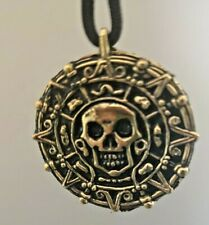 GOLD MEDALLION MYTHICAL FANTASY COIN NECKLACE, SKULL FACE & LEATHER LANYARD CORD