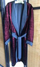 Vintage Mens Red Black Velvet Long Smoking Robe House Coat Chest 50 Mad Men