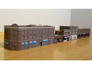 City Block (5) Urban Town Buildings Set - T Gauge 1:450 1:480 Scale No Assembly!