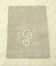 "Hand Towel Initial""P"" Monogram W. Flowers Linen Guest Towel  Beige Oatmeal Color"