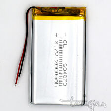 3.7V 2000 mAh  LiPo Polymer Battery Rechargeable 604070 for GPS Bluetooth MP3