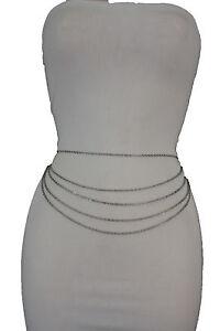 Women Silver Fashion Belt Metal Chains Hip High Waist 5 Strands Waves Side S M