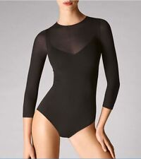 WOLFORD OPAQUE TRANSPARENT NATURE BODY 76044, BODYSUIT, XS, in black, New in box