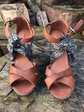 Womens M&S Sandal Shoes Brown Leather High Heel Shoe UK 5 Eur 37.5