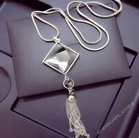 Damen Halskette Schmuck Collier Anhänger Silber lang Kette edel Strass Luxus M25