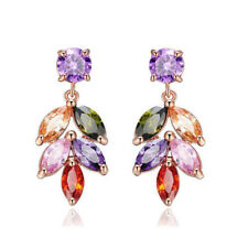 European Style Mulit Natural Morganite Peridot Rose Gold Plated Stud Earrings