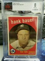 1959 HANK BAUER Topps Graded BVG 8 NM-MT POP 2 Only 1 Higher New York Yankees
