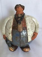 1977 Doctor Signed Sara Meadows Balloon Clay Art Roly Poly Man Figurine
