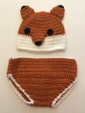 Crocheted Hat and Diaper Cover Set~ Walmart Fox Infant Newborn Photo Prop Outfit