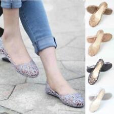 Women Crystal Slip On Shoes Soft Glitter Flats Ballet Jelly Thin Sandals JA