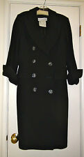 Vintage Christian Dior Boutique Black Long Wool Coat Made in France Sz 38 Womans
