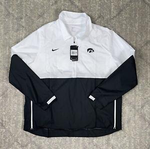 NEW Sz XXL Men's Nike Iowa Hawkeyes Sideline Coaches Jacket 1/2 Zip Black/White
