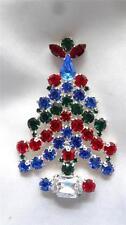 Vintage Rhinestone Silvertone Prong Angel Christmas Tree Pendant Brooch Pin