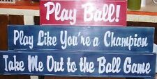 3 HAND PAINTED WOOD BASEBALL SPORTS SIGNS SAVE!!