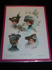 "Antique LADIES FASHION PRINT Dec. 1901 ""Smart Winter Hats"" The Delineator"