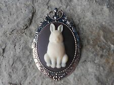 CUTE 2 IN 1 BUNNY RABBIT CAMEO BROOCH / PIN / PENDANT - EASTER BUNNY - EASTER