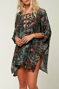 O'Neill TAMRA Womens Craftan Style Swimsuit Cover-Up XS/S Calla Black Multi NEW
