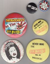 70s Punk Rock New Wave Memorabilia SEX PISTOLS Set Of 6 Original Badges