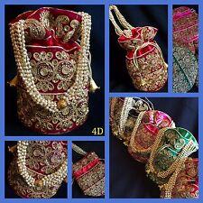 Bollywood Style Bridal Maroon Gold Potli Clutch cordon de soie Dolly Sac De Fête