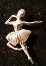 Vintage Sterling Silver Dancing Ballerina Dancer Pin Brooch.