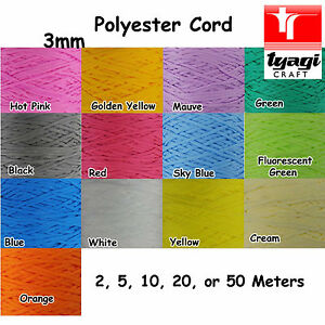 CORD 3mm Braided Rope Paracord Polyester Many Colour Size Color Craft Bracelet