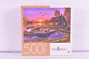 Big Ben 500 Piece Puzzle - Cabin Scene - Sunset Over a Busy Day
