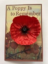 RED POPPY SILK LAPEL PIN REMEMBRANCE DAY 45MM
