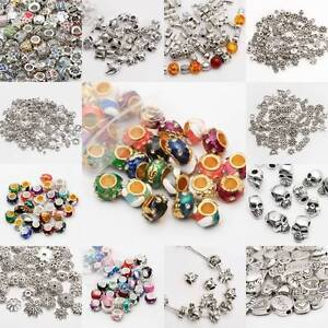 100Pcs Silver Spacer Beads For Jewellery Making European Bracelet  61 Styles