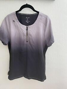 Koi Lite Womens Scrub Top Size M Medium Gray Ombre Zipper Top