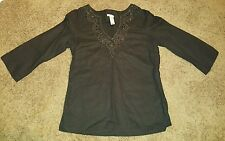 Womens Old Navy 3/4 sleeve embellished V-neck linen cotton shirt XS Black Boho