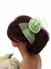 Green Bow Rosette Hair Comb Slide with satin flower Fascinator Bridesmaid