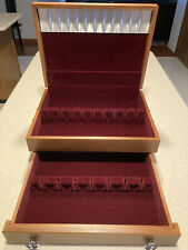New listing 2 Tier Wooden Silverware Storage Chest with Drawer Nib Never Used
