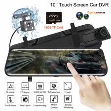 "10"" 1080P Dual Lens Car DVR Dash Cam Video Camera Recorder Rearview Mirror 16GB"