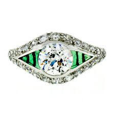 Antique Art Deco Platinum 1.65ctw Old European Diamond & Emerald Engagement Ring