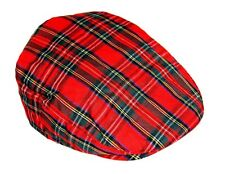 SALE Tartan Scottish Style Hat UK Classic Flat Cap Red Check Size S-M