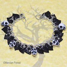 Il pomo Bracciale GIARDINO-BIANCO-gotico bracciale, Goth, Teschio, Halloween