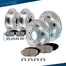 Front & Rear DRILLED Brake Rotors + Ceramic Pads for 2005 2006 QX56 Titan Armada