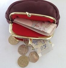 Ladies Girls  Leather DOUBLE Clip Coin Purse